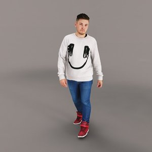 3d man casual walking model
