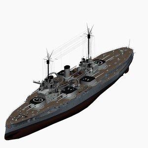 dreadnought battleship nassau class 3d max
