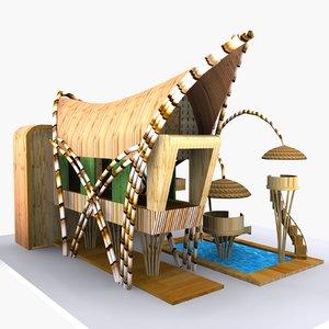 3d bamboo house