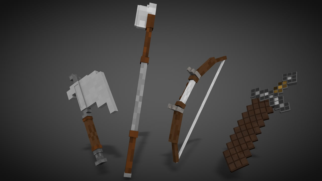 minecraft 3d weapons