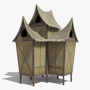 3d traditional hut minangkabau model