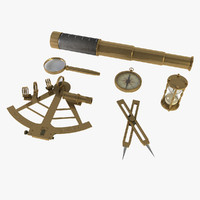 Navigation Set, sextant, spyglasses magnifying, hourglass and compass