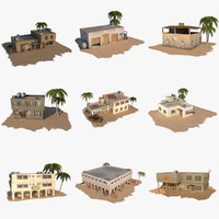 3d pack arab building houses model