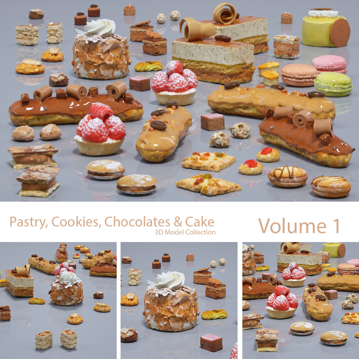 pastry cookie chocolate 3d model