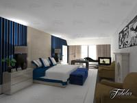bedroom scene 3d c4d