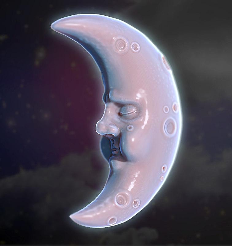 free obj model moon face