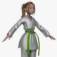 sculpt cartoon karate woman 3d obj