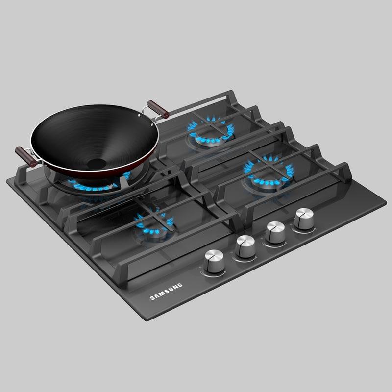 2015 samsung gas cooktop 3d model