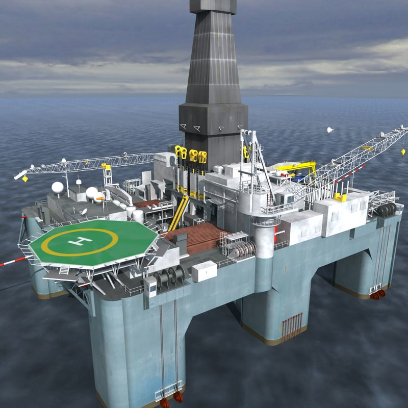 3d semisubmersible drilling rig model