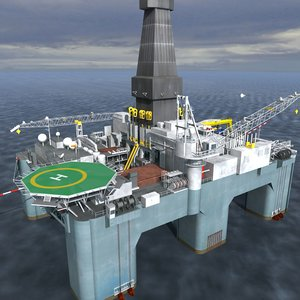 3d semisubmersible drilling rig model
