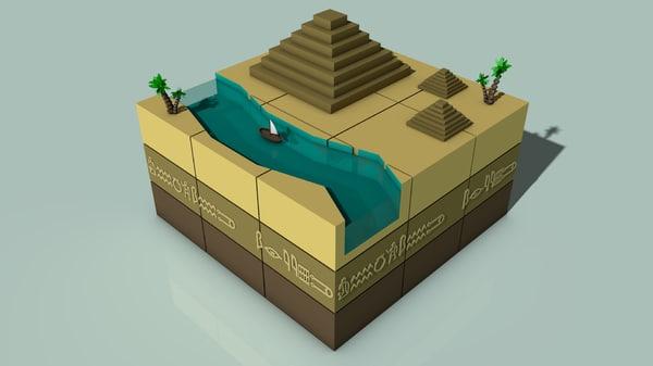 3ds isometric ancient egypt landscape scene