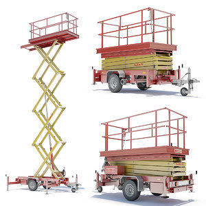 trailer scissor lift 3d lwo
