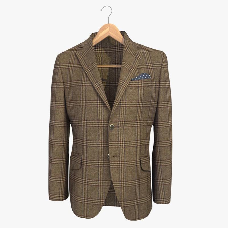 3d model brown blazer jacket coat hanger