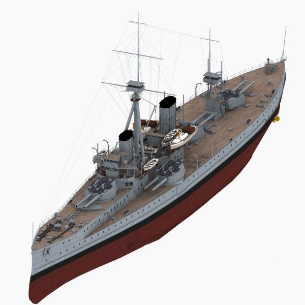 hms dreadnought battleship royal navy 3d max