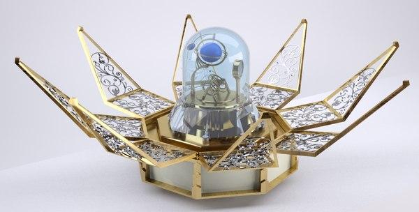 3d model of casket clock barometer