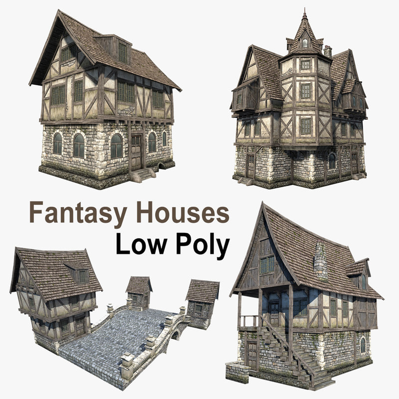 3d set fantasy medieval houses model