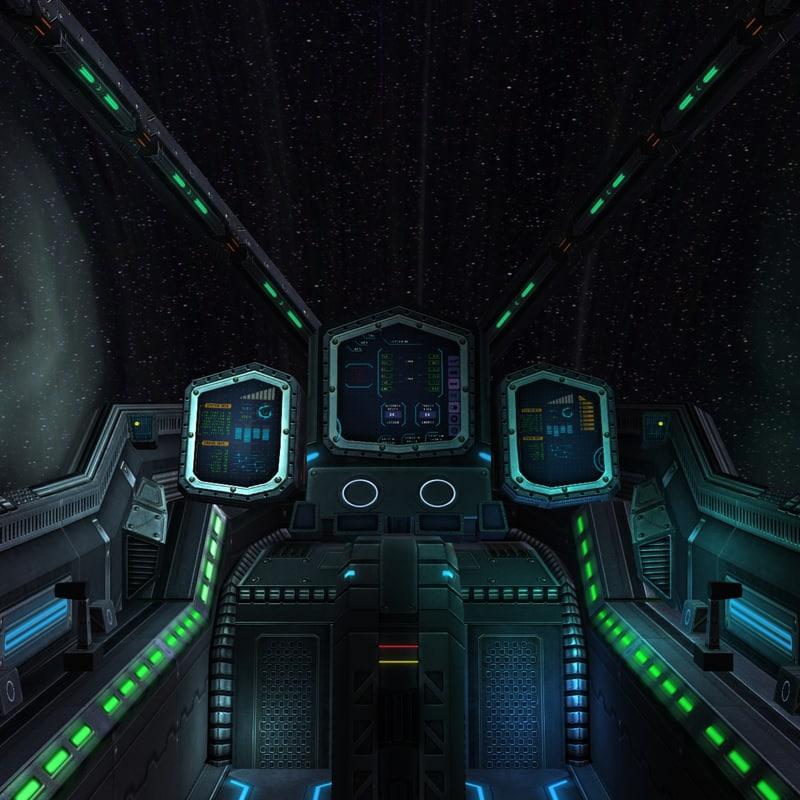 sci-fi spaceship cockpit - 3d 3ds