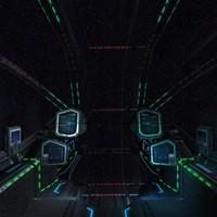 3d sci-fi spaceship cockpit - model