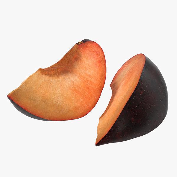 3d model sliced plum modeled