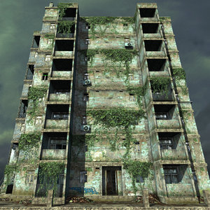 obj urban apartment building abandoned