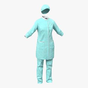 3d female surgeon dress blood
