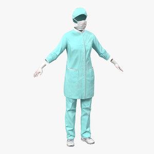 c4d female surgeon dress blood
