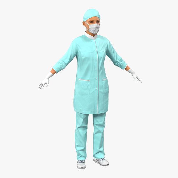 3d female surgeon mediterranean modeled