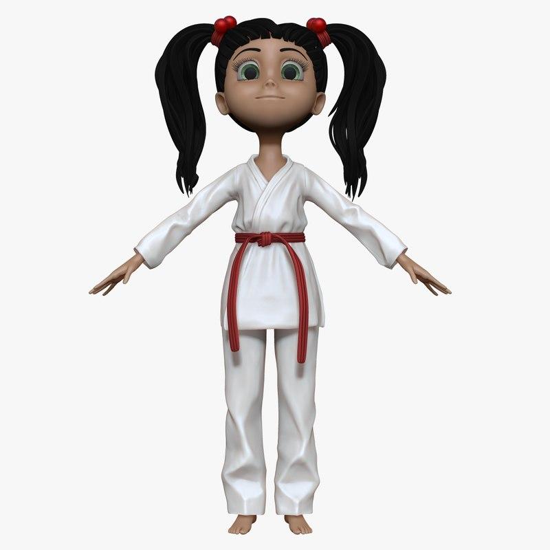 3d sculpt cartoon karate girl