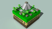 isometric mayan cityscape c4d