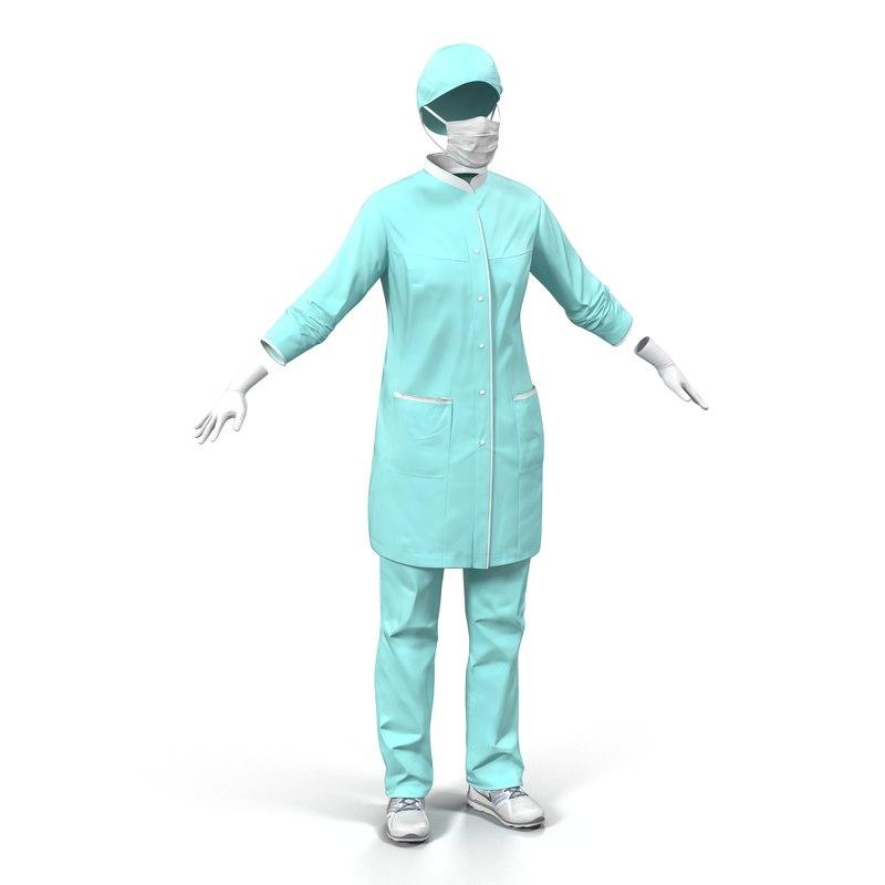 3ds max female surgeon dress