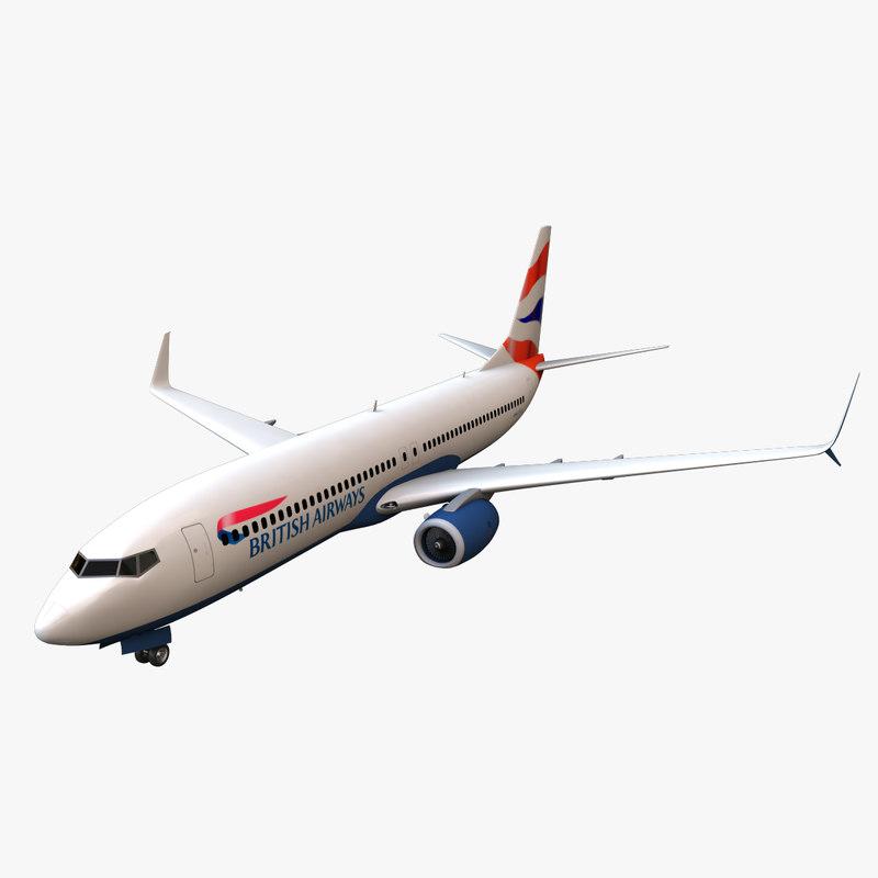 british airways boeing 737-800 3d max