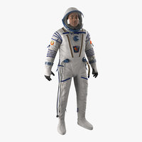 russian astronaut wearing space suit 3d max