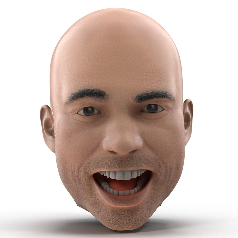 3d male head rigged model