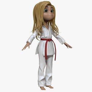 3d model sculpt cartoon karate girl