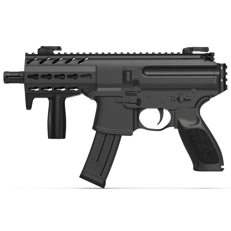 3d 3ds machine pistol generic modeled