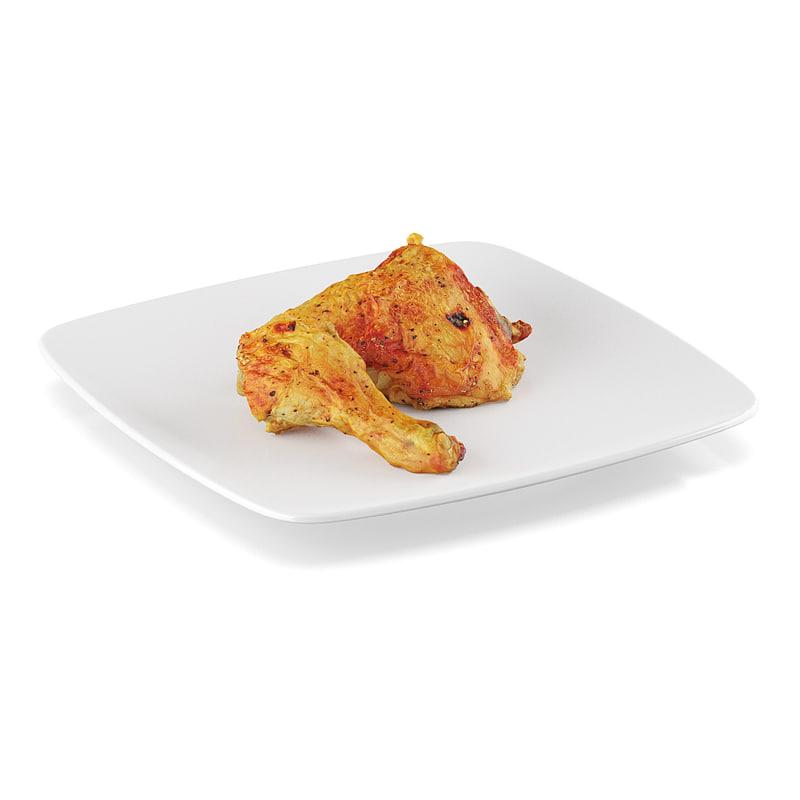 3d pan-fried chicken leg
