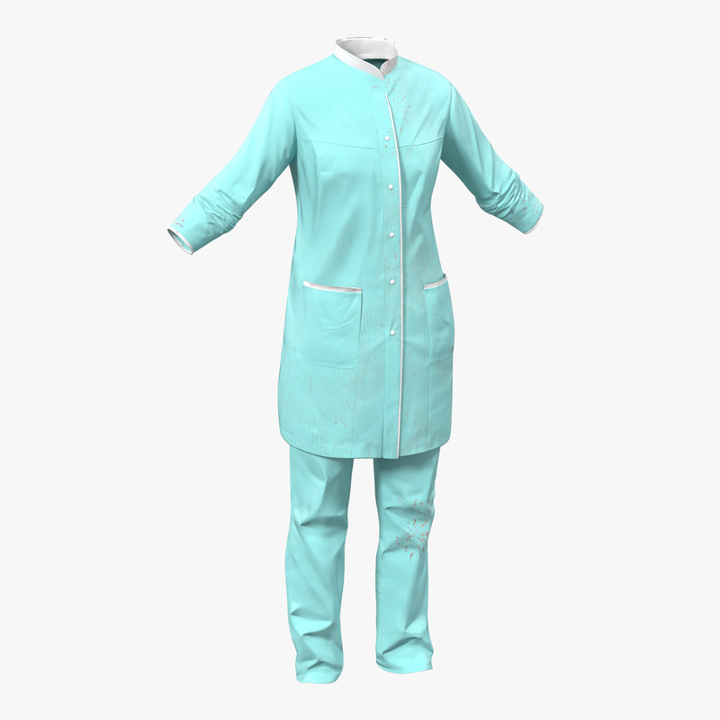 female surgeon dress blood 3d max