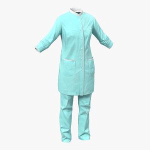 female surgeon dress blood 3d max