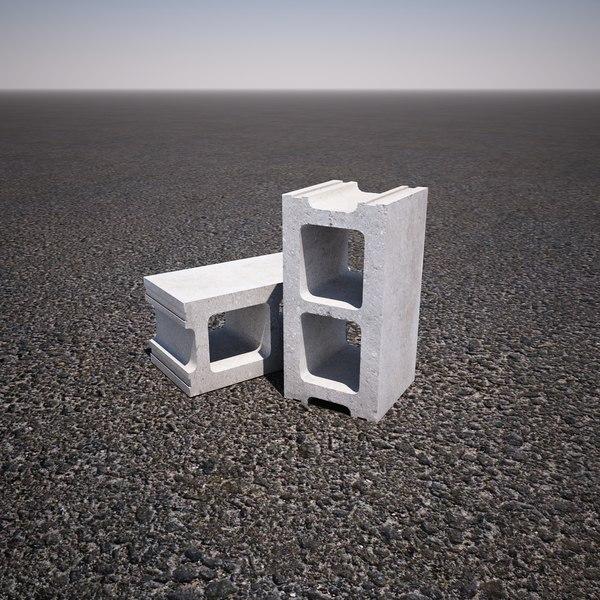 concrete cinder block 3d model