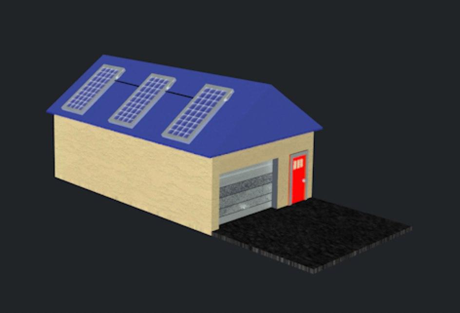 house solar panels obj