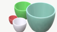 3d model 4 plastic bowls
