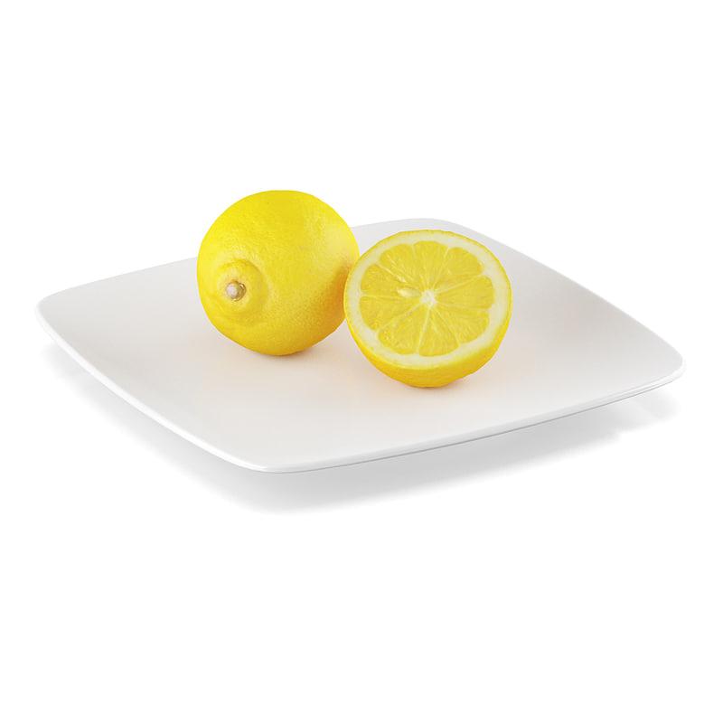 3d model half lemon fruit