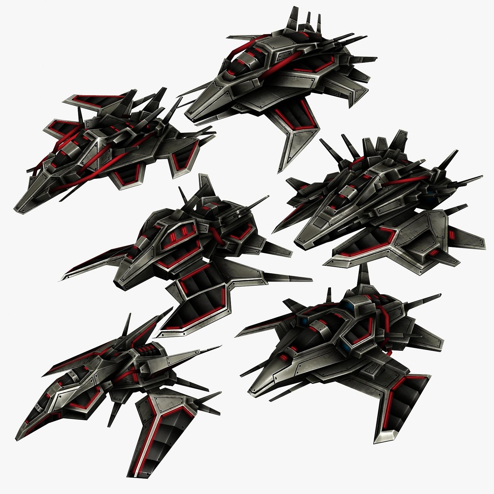 3d 6 alien spacecrafts model