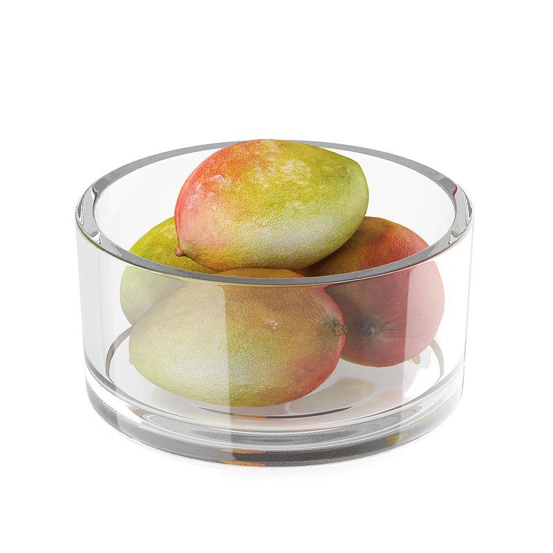 3d model of mango fruits glass bowl