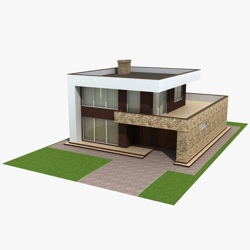 3d model modern house for Simple modern house models