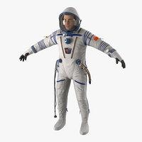 3d russian astronaut wearing space suit