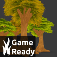 blender pack trees cartoon forest