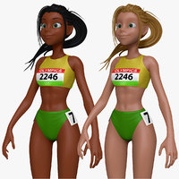 3d sculpt cartoon track field model
