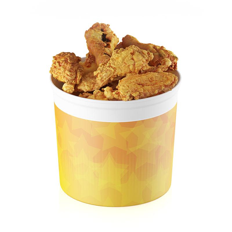 3d model fried chicken bucket