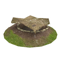 3d model of war 2 gun emplacement